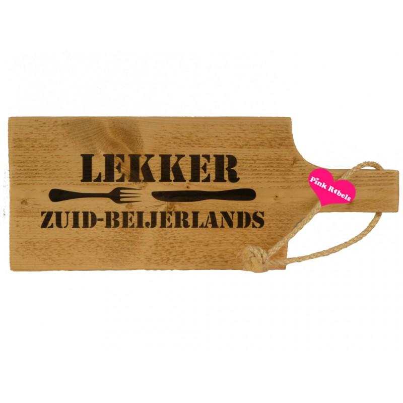 Handgemaakte opdienplank van steigerhout type Lekker (rood)