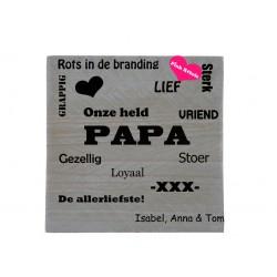 Tekstbord type papa met namen