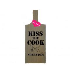 Handgemaakte opdienplank van steigerhout type kiss the cook (maaktwerk)